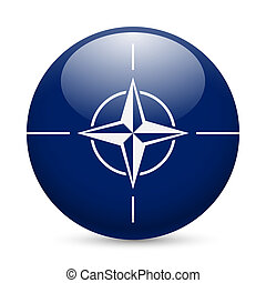 Round glossy icon of NATO - Flag of NATO as round glossy...