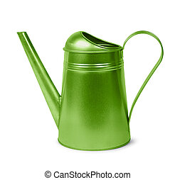 Green watering can - Classic green metal retro watering can...