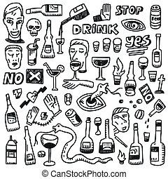 Alcohol bottles - doodles