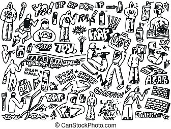 rap,hip hop ,graffiti - doodles set