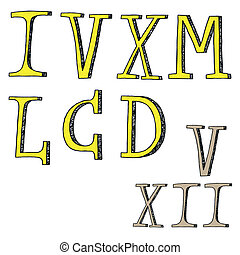 Chiffres, romain,  -,  doodles