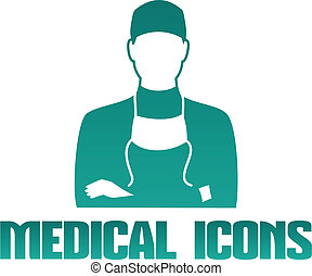 Medical icon with surgeon doctor - Flat medical icon with...