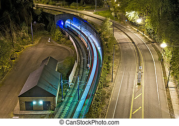 MAX Tunnel in Portland, Oregon - Light Rail tunnel on...