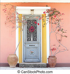Beautiful homely house door with blooming red roses -...