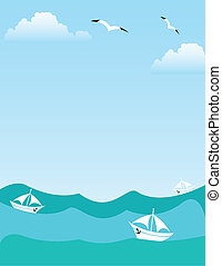 sea or ocean landscape with yachts, seagulls and clouds