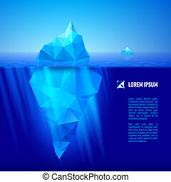 Iceberg under water - big blue iceberg drifting in the sea...