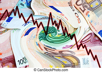 quotation charts - montage of money in a maelstrom and stock...