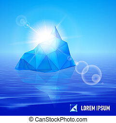 Iceberg - big blue iceberg drifting in the sea