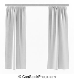 White curtains background - White isolated linen curtains on...