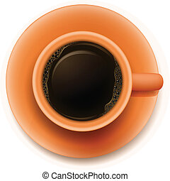 An orange cup with a coffee - Illustration of an orange cup...
