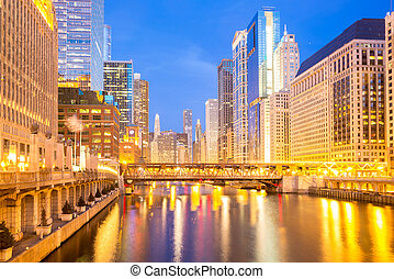 Chicago downtown and River dusk - City of Chicago downtown...
