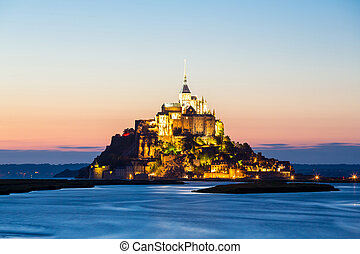 Mont Saint Michele, France - Mont Saint Michele at dusk...