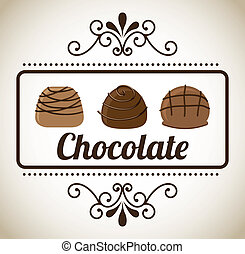 chocolate design over gray background vector illustration