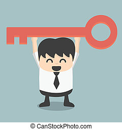 businessman is holding a key of success