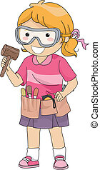 Wood Carving Girl - Illustration of a Girl Carrying Wood...