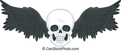 Skull with Black Wings Tattoo