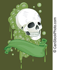 Skull Tattoo Ribbon - Illustration of a Tattoo Design...