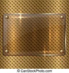 vector abstract  glass  plaque on the metal cell grid