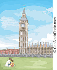 Big Ben Sketch - Sketchy Illustration of Big Ben in London