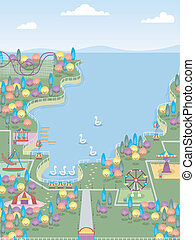 Theme Park - Illustration of a Theme Park with Plenty of...