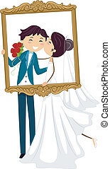 Wedding Frame - Illustration of a Pair of Newlyweds Kissing...