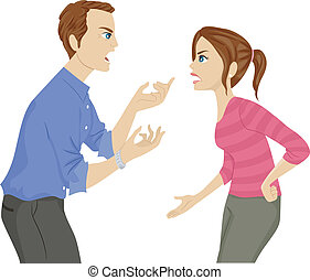 Father and Daughter Argument - Illustration of a Father and...
