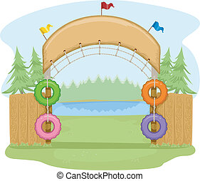 Camp Site Entrance - Colorful Illustration Featuring the...