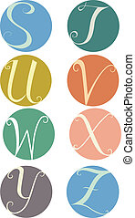 Letter Labels - Text Illustration Featuring Labels Bearing...