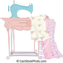 Shabby Chic Sewing Machine - Shabby Chic Illustration...