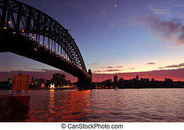 Sydney Harbour Sunrise - View across Sydney Harbour with...