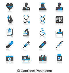 Health care flat with reflection icons - Simple vector icons...