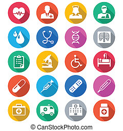 Health care flat color icons - Simple vector icons. Clear...