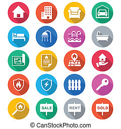 Real estate flat color icons - Simple vector icons. Clear...