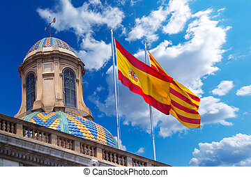 Flags of Spain and Catalonia Together - Detail of Palau de...