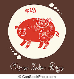 Pig. Chinese Zodiac Sign. Silhouette with ethnic ornament....