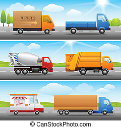 Realistic truck icons on road - Realistic truck lorry...