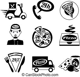 Pizza icons set black and white - Fast food pizza delivery...