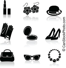Woman accessories black icon set - Woman fashion stylish...