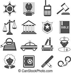 ley, iconos, blanco, negro
