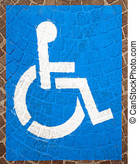 Handicap Parking Spots - Blue and white road marking for...