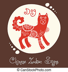 Dog. Chinese Zodiac Sign. Silhouette with ethnic ornament....