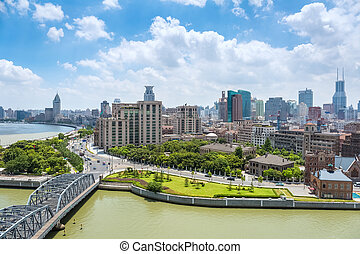 cityscape of shanghai the bund with suzhou river against a...