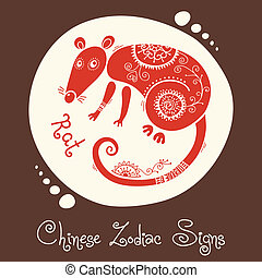 Rat Chinese Zodiac Sign Silhouette with ethnic ornament...