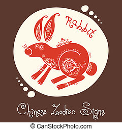 Rabbit. Chinese Zodiac Sign. Silhouette with ethnic...
