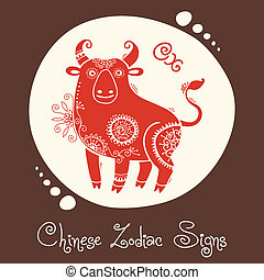 Ox. Chinese Zodiac Sign. Silhouette with ethnic ornament....