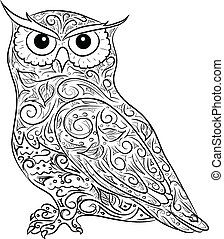 hand drawing owl - vector black-and-white-illustration of...