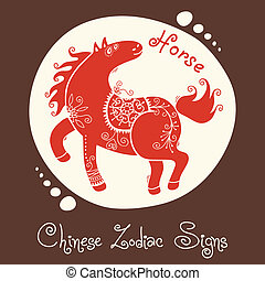 Horse. Chinese Zodiac Sign. Silhouette with ethnic ornament....
