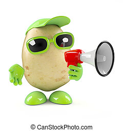 3d Potato character with a megaphone - 3d render of a potato...