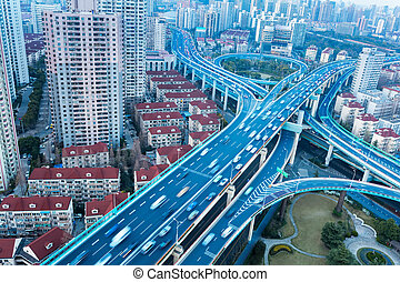blue elevated road junction - modern city overpass close-up,...
