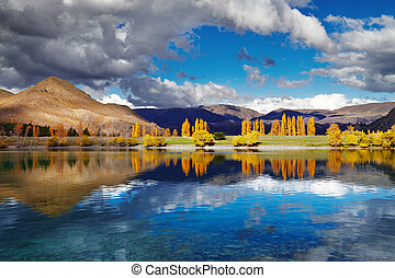 Lake Benmore, New Zealand - Mountain landscape in autumn...